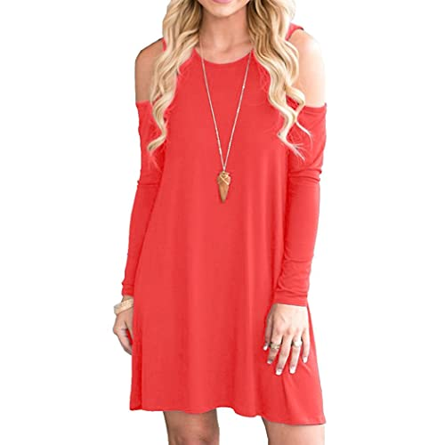bf37347a817f OFEEFAN Women s Cold Shoulder Tunic Top T-Shirt Swing Dress with Pockets