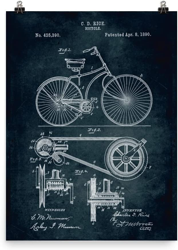 1890 Bicycle Patent Poster Blueprint Free shipping Kansas City Mall Vintage Home Engineer Decor