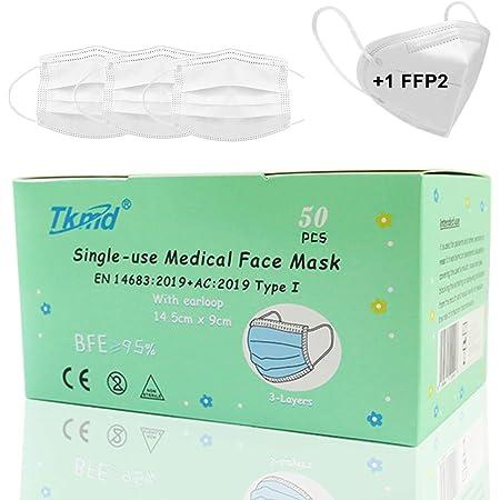 50 St. Kindermasken Medical Kids Mask EN14683 Typ I 3-lagig weiß Medizinische Einweg Schutzmasken BFE 95% CE Geprüft und Zertifiziert + 1 Gratis Echte FFP2 Maske