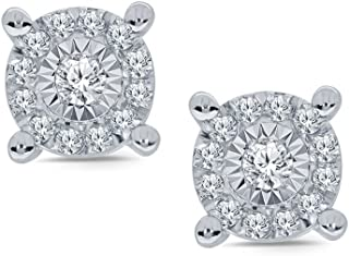 La Joya 1/5ct Round White Diamond Miracle Plate Sterling Silver Cluster Stud Earring