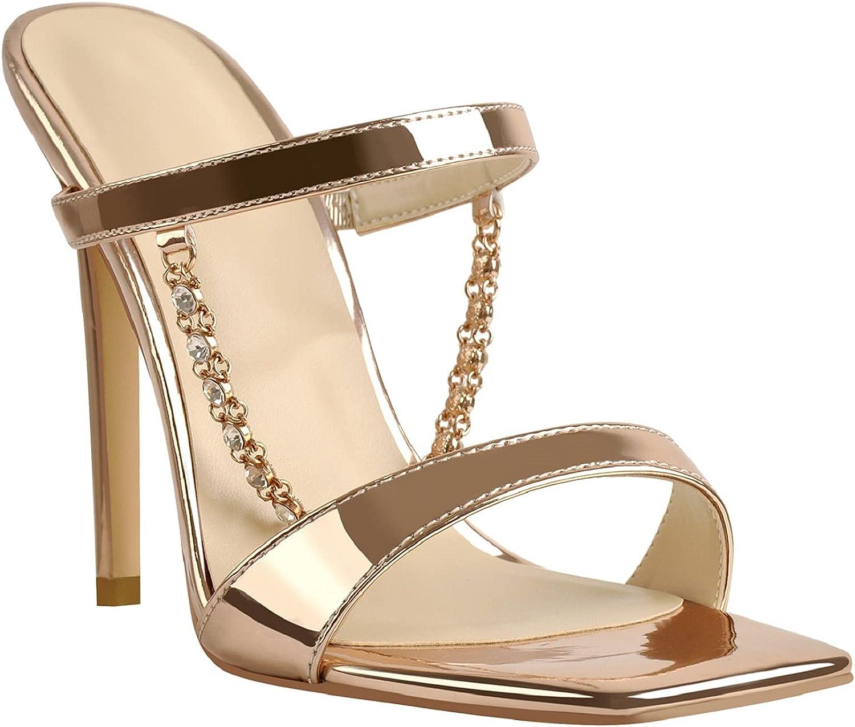 Women's Rhinestone Stilettos Slip on Sparkly Chain Square Toe Mules Sandals