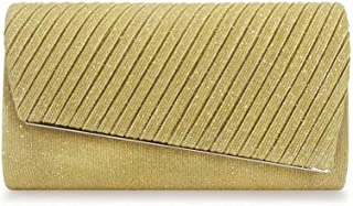 Ladies banquet bag Well-made European And American Pleated Handbags Evening Bag Banquet Clutch Bag Shiny Illusion One Shoulder Diagonal Chain Black Blue Yellow Beige 25 * 5.5 * 13.5cm Shining (Color :