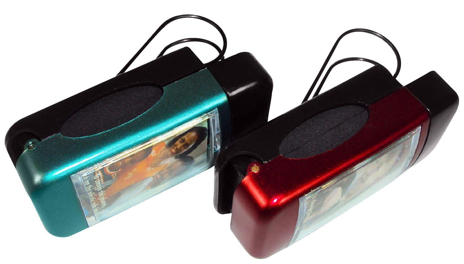Closeoutservices Sunglasses Clip with Photo Window Set of 2. Red /& Green Purse Car Visor Belt