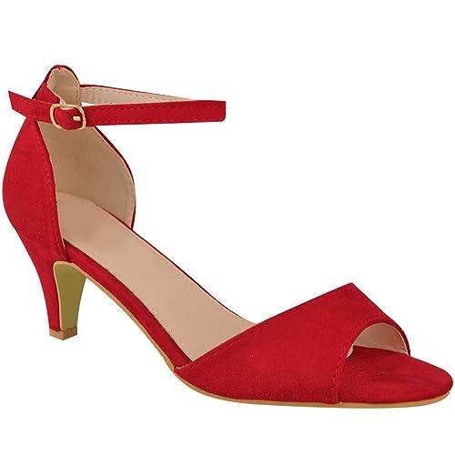 2d7449f98ad Fashion Thirsty Heelberry® Womens Ladies Low Kitten Heel Wedge Court Shoes  Black Work Sandals Strappy