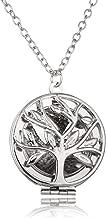 FayOK Collar de difusor de Aceite Esencial Árbol de la Vida Diseño Medallones Huecos Colgante Collar de aromaterapia con Almohadillas Joyería de Perfume