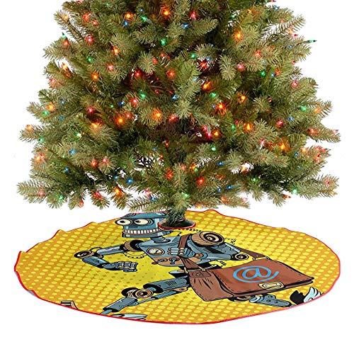 Adorise Jupe d'arbre moderne style livre de bande dessinée robot facteur vintage science fiction jaune et clair décoration de Noël – 92 cm