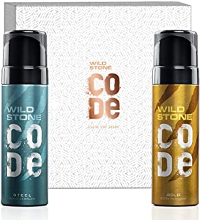 Wild Stone Code Gift Box with Steel and Gold Body Perfume (120ml each)