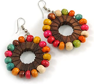 A PAIR OF BROWN  GLASS  BEAD  SILVER  PLATED DROP   CLIP ON EARRINGS NEW.