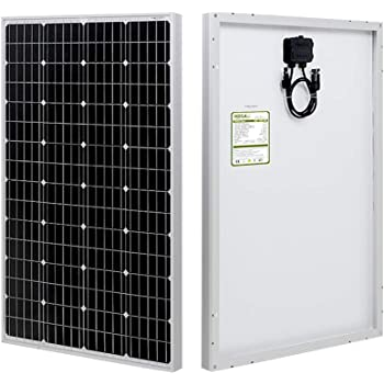 HQST 100 Watt 12V Monocrystalline Solar Panel 39.65x19.41x1.18in with Solar Connectors High Efficiency Module PV Power for Battery Charging Boat, Caravan, RV and Any Other Off Grid Applications