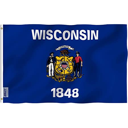 Amazon Com Anley Fly Breeze 3x5 Foot Wisconsin State Flag Vivid Color And Fade Proof Canvas Header And Double Stitched Wisconsin Wi Flags Polyester With Brass Grommets 3 X