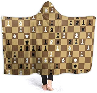 Chess Set Pieces Chessboard Fleece Blanket Bed Linen Plush Hooded Poncho Beach Towel Microfiber Super Soft Lightweight Cozy Sofa Couch Warm Yoga Mats Throw Hood Blankets Size 50x40 60x50 80x60 Inch
