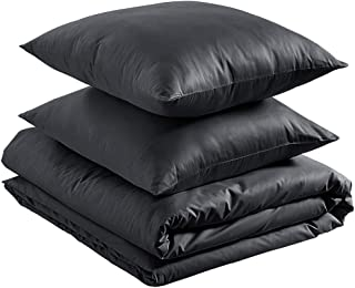 AmazonBasics – Bettwäsche-Set, aus leichter Baumwolle, 155 x 200 cm / 80 x 80 cm, Schwarz