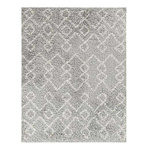 Wyatt & Ash Light Gray/Ivory 3.25 ft. x 5 ft. Tribal Stripes Shag Area Rug