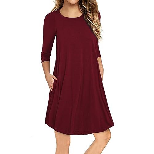 bd43e47f09d9 Traleubie Women's Plain 3/4 Sleeve Pockets Pleated Loose Swing Casual Mini  Dress