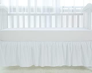 TILLYOU White Crib Skirt Dust Ruffle, 100% Natural Cotton, Nursery Crib Toddler Bedding Skirt for Baby Boys or Girls, 14