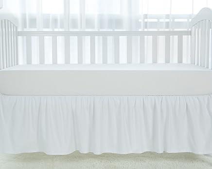 TILLYOU White Crib Skirt Dust Ruffle,  100% Natural Cotton,  Nursery Crib Toddler Bedding Skirt for Baby Boys or Girls,  14 Drop