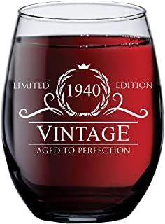 1940 79th Birthday Gifts for Women and Men Wine Glass | Funny Vintage 79 Year Old Presents | Best Anniversary Gift Ideas Him Her Husband Wife Mom Dad | 15 oz Stemless Glasses | Party Decorations Wines
