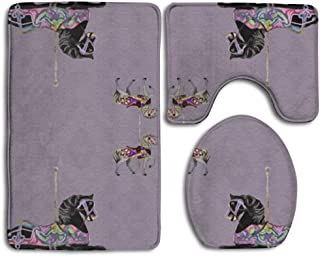 playflycat New 3pcs Bath Mat Toilet Rugs Anti Slip Floor Mats Bathroom Carpets Set Toilet Lid Cover Absorbent Customize Carousel Horse Lavender