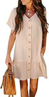 AlvaQ Women Button Down V Neck Short Sleeve Swing Dresses Casual Mini Dress
