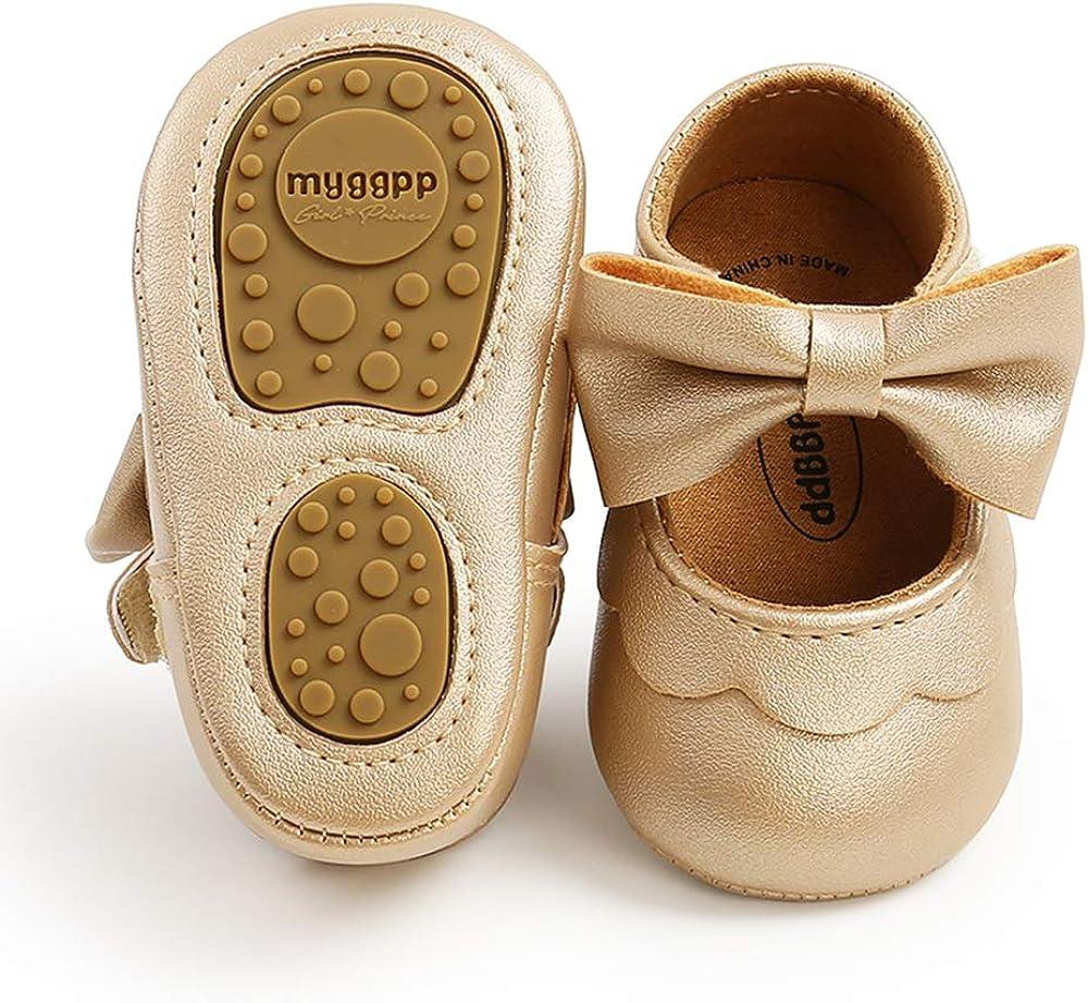 | RVROVIC Baby Girls Shoes Soft Sole Mary Jane Flats Princess Dresses Shoes PU Cute Bow Prewalker | Mary Jane