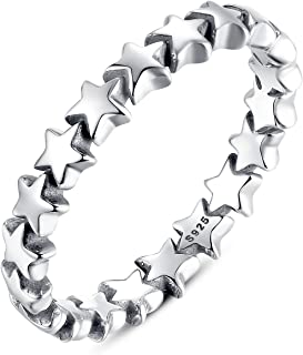 925 Sterling Silver Stars Ring Size 6-9 for Women Girls Engagement Rings Gifts