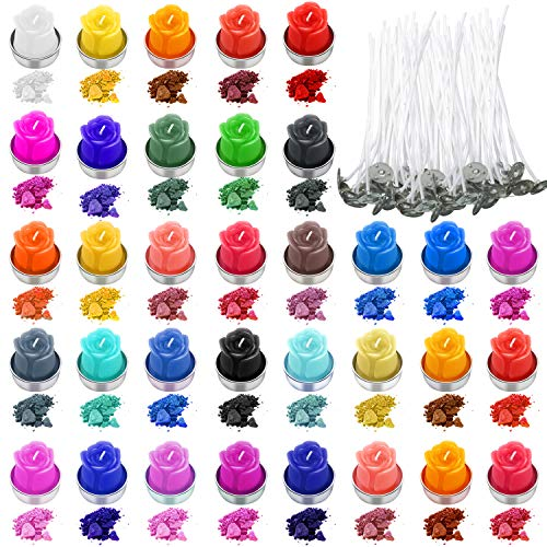 34 Farbe Kerze Wachs Farbstoff Kerze Färben Flocken Kerze Herstellung Farbchips mit 200 Stücke Kerze Dochte für DIY Kerze Herstellung Zubehör