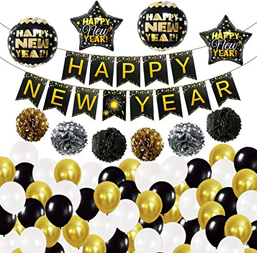 Happy New Year Banner and Confetti Balloons - Black Gold and Silver Pompoms  Happy New Year Balloons   New Years Eve Party Supplies 2021   Happy New Year Party Decorations   New Years Eve Decorations