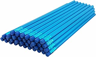ezpencils - Sky Blue Barrel Hexagon Pencils with Blue Eraser and Blue Ferrule - 36 pkg - Non-Smudge Eraser - # 2 HB Lead - Unsharpened - Non-Branded