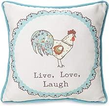 Pavilion Gift Company Live Simply Live, Laugh, Love Hen Floral Pillow, 12 x 12, Blue