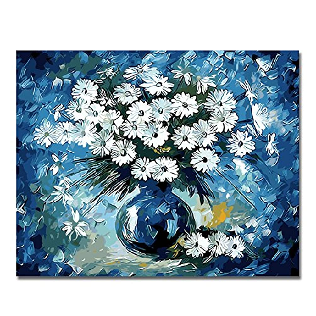 BOSHUN Paint by Numbers Kits with Brushes and Acrylic Pigment DIY Canvas Painting for Adults Beginner- Daisy 16 x 20 inch(Without Frame)
