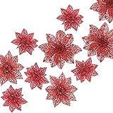 Naler 24-teilig Weihnachtsblumen Glitzer Blumen Weihnachten Deko Weihnachtsbaumschmuck Poinsettia für Weihnachtsbaum Adventskranz, Rot
