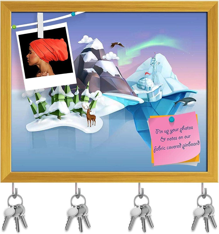 Artzfolio Low Poly Style Landscape Key Holder Hooks   Notice Pin Board   golden Frame 19.3 X 16Inch