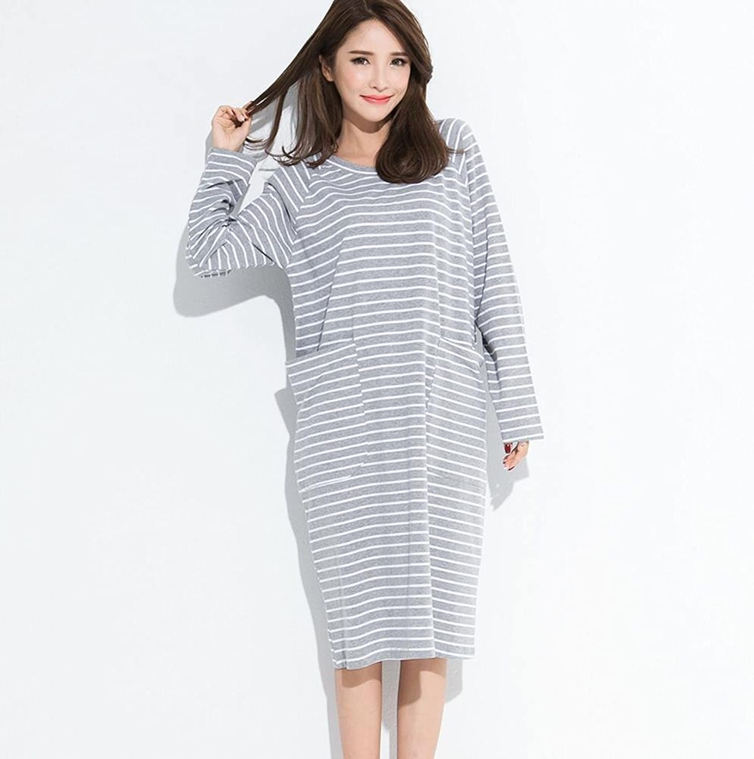 DMMSS Ladies Spring and Autumn Sleep Dress LongSleeved Cotton Home Clothing Stripes in The Long Section of Large Size Loose Pajamas Can Be Worn Outside