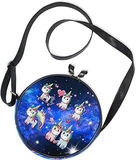 Ahomy Runde Tasche klein für Frauen – Starry Galaxy Nebel Einhorn Regenbogen Damen Mode Crossbody Tasche Umhängetasche