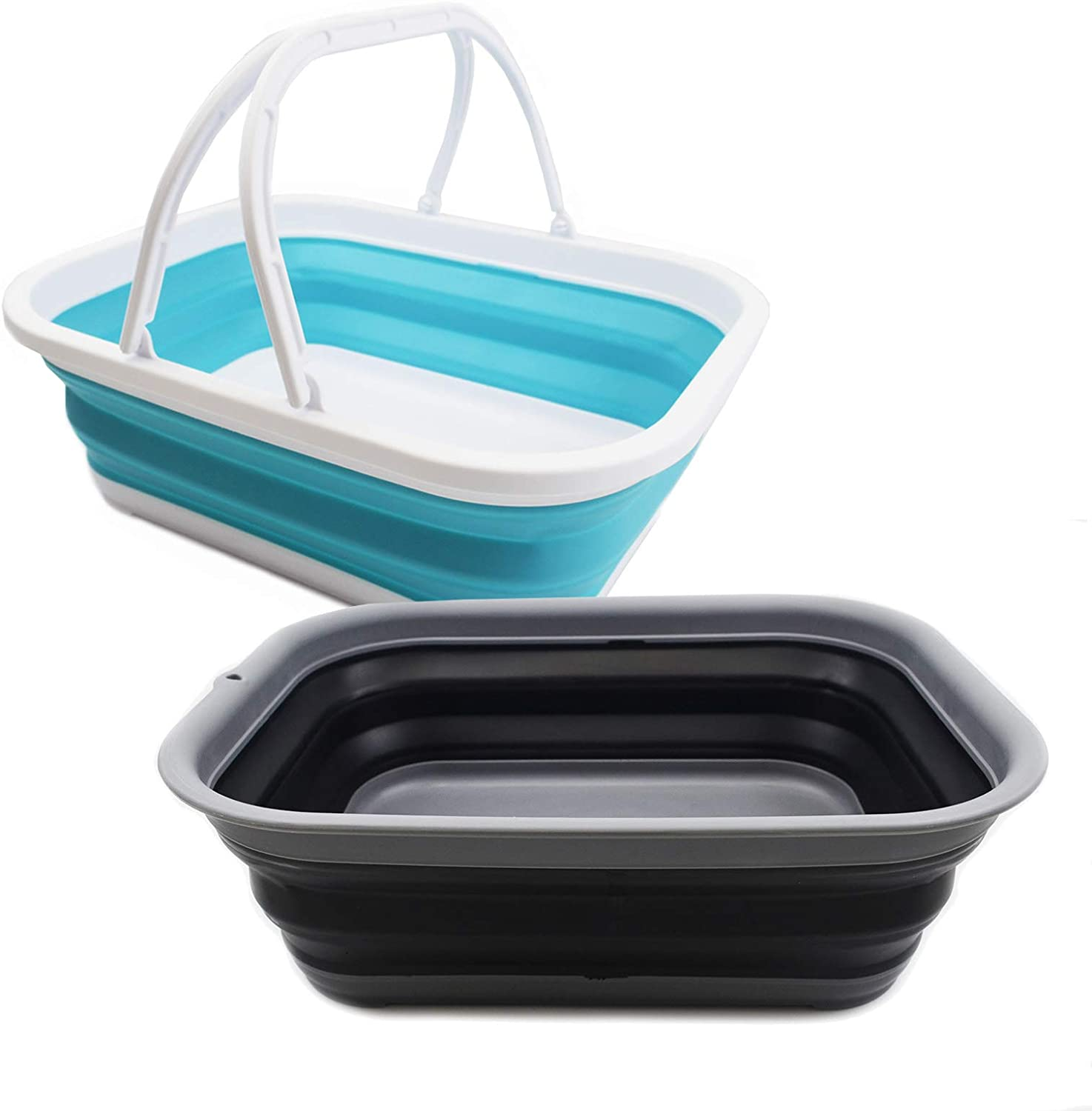 SAMMART 12L(3.17Gallon)+12L(3.17Gallon) Collapsible Tub with Handle & Collapsible Tub - Portable Outdoor Picnic Basket - Foldable Shopping Bag