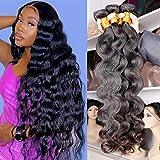 DFX Hair Premium Human Hair Body Wave 3 Bundles 20 22 24 inch Natural Black Color Unprocessed Virgin Brazilian Hair Weave Bundles On Sale Wavy Hair Extensions