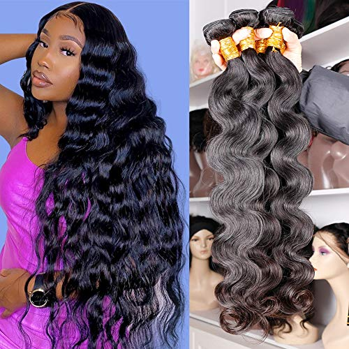DFX Hair Body Wave Human Hair Bundles 22 20 18 16 inch, Body Wave 4 Bundles Unprocessed Virgin Brazilian Hair Weave Bundles Natural Black Color On Sale Wavy Hair Extensions