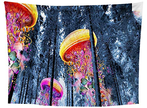 asdas Tapestry,Mandala Impression Art India 3D Printing Jellyfish Polyester Ocean Decoration Wave Picnic Blanket Dormitory Living Room Bedroom Study Room Window Wall,Jellyfish,200X150Cm