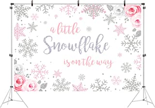 5x3ft Winter Wonderland Backdrop A Little Snowflake is On The Way Baby Shower Party Banner Pink Rose White Background 1st Birthday Decorations Cake Table Decor