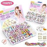 WinWonder Niños Bricolaje Conjunto de Cuentas,1150 PCS Pulseras Collares de Joyas para Niñas Cuentas para la Fabricación de Joyas para Niños