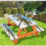 LEWIS FRANKLIN - Mantel ajustable para mesa de picnic y banco, diseño de palmeras Tailandia verano con borde elástico, 70 x 72 pulgadas, juego de 3 piezas para mesa plegable