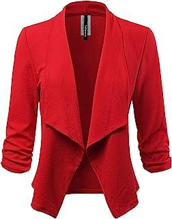 Women's Stretch 3/4 Gathered Sleeve Open Blazer Jacket (Made in USA)