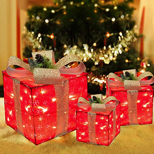 Funpeny Set of 3 Christmas Lighted Gift Boxes, 60 LED Red Christmas Box Decrations, Presents Boxes with Gold Bows for Christams Tree, Yard, Home, Indoor Outdoor Christams Decorations