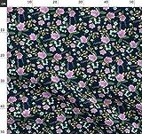 Lila, Marineblau, Rosa, Blumen, Kinderzimmer Stoffe -