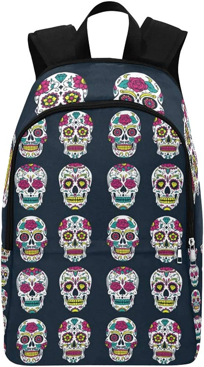 Day Dead colorful Sugar Skull Casual Daypack Travel Bag College School Backpack for Mens and Women