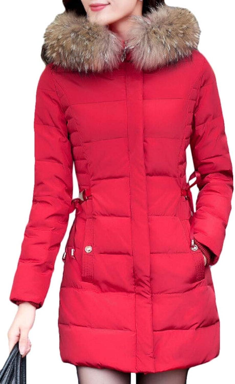 Desolateness Womens Down Jacket Coat Hoodie Down Padded Winter Long Parka Outwear