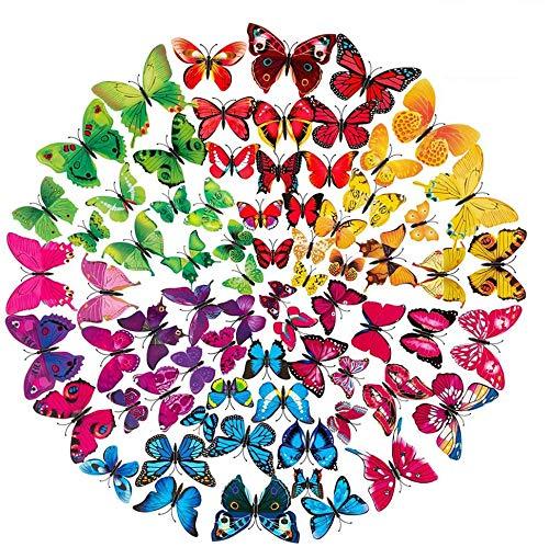 ALWWL 72 Pezzi Farfalle 3D Adesivi, Farfalla Adesivi Murali, Murali Adesivo Creativo, Adesivi Murali DIY, Magnete + Nastro Biadesivo, per Bambini Camera Cucina Frigo Decorazioni Feste