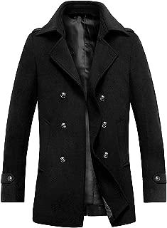 zeetoo Men's Wool Peacoat Winter Buttons Jacket Windproof Classic Pea Coat