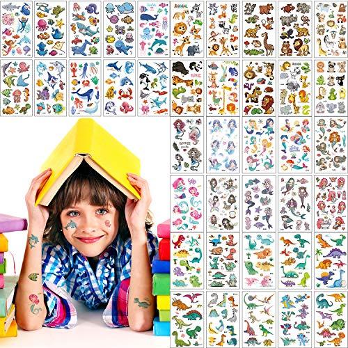HENGBIRD LATTCURE Tattoo Kinder 40 Bögen Klebetattoos Tattoo Temporäre Tattoos - hypoallergen Klein Tattoo Temporary Klebe Tattoo Temporäre Tattoos für Kinder kindgerechte Designs
