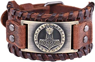 Vintage Amulet Gothic Nordic Myth Thor's Hammer Viking Runes Celtic Irish Knot Brown Leather Belt Buckle Bracelet